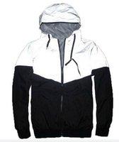 schwarze grabenmänner großhandel-Neue Herbst Frühling 3M Hiphop Jacke reflektierende Jacke dünne schwarze Windbreaker Männer Frauen Trenchcoat Jacke