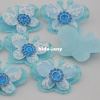 Wholesale Pink Butterfly Crafts - 40x 2 Tone Padded Butterfly Appliques craft baby Ribbon flowers