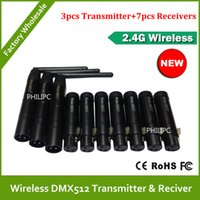 Wholesale DHL Professional stage dj wireless dmx controller signal receiver Ghz Wireless DMX512 transmitters