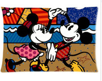 Wholesale Romero Case - Cartoon Mouse Romero Britto Home Decoration Office Bed Sofa Waist Zippered Pillow Cases Cushion 16x24 (Two side)