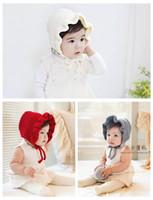 bebek polar şapka toptan satış-Bebek Klasik Sıcak Yumuşak Örme flounced yün şapka Sıcak Kış Sıcak prenses Şapkalar Polar ve Yün Hood sevimli Benzersiz Deisgn Isıtıcı kap MZ9108