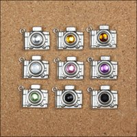 18PCS 2sets 21x17MM Vintage Mixed Color One Rhinestone Antique Antique Silver Camera Charm Pendant Para Colar Pulseira DIY Making