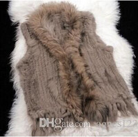 Wholesale women s real fur vests - New Real Genuine Knit Rabbit Fur Vest With Raccoon Fur Gilet Waistcoat Winter Fur Jacket free shipping