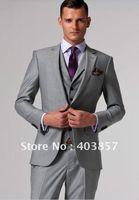 Wholesale Silver Tuxedos - 2017 New Custom Made Slim Fit Groom Tuxedos Silver Side Slit Best Man Suit Wedding Groomsman Men's Suits Bridegroom