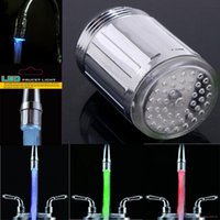 Wholesale Tapping Head For Shower - Two Type 7 Colors LED Water Shower Head Light Glow LED Faucet With Adapter For Most Faucet Kitchen Bathroom Tap 2015