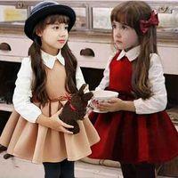 Wholesale Korean Style For Autumn - 2015 Korean Girls Clothes New Arrival Long Sleeve Children Dresses Princess Fashion Hot Sale Dress For Kids 100-140 3-8SAge Baby TR115