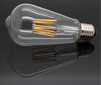 мигающая свеча оптовых-ST64 E27 светодиодная лампа накаливания Эдисон лампочка 2W / 4W / 6W / 8W Лампа Bombillas AC85-265V COB Эдисон Люстра Огни Ретро Освещение