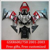 Wholesale Cheap Body Fairing - Cheap Fairing Kit Of Suzuki Body Parts GSXR 600 GSXR600 GSX-R600 2001 2002 2003 K1 GSXR 750 GSXR750 GSX-R750 Red Black Silver ABS