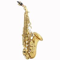 Wholesale Clean Sax - Wholesale-LADE Brass Golden Carve Pattern Bb Bend Althorn Soprano Saxophone Sax Wind Instrument with Case Gloves Cleaning Cloth Belt Brush