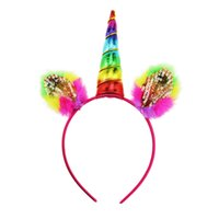 Wholesale Kids Fur Headbands - Rainbow unicorn headband fur ears cartoon 10.5cm one-horned animal hariband kids festivals party performance headwear