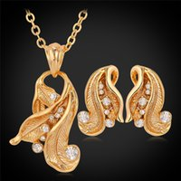 Wholesale Gold Jewellery Designs - 18K Real Gold Plated Pendant Earrings Choker Jewelry Sets In Rhinestone CZ,New Vintage Style Design Jewellery Women YS3036