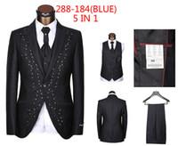 Wholesale Tailored Dresses Designs - Wholesale-Latest Designs (Jackets+Pants+Vest+Tie+Handkerchief) tailor made suits for men wedding dress custom mens 5 piece suit Blazers