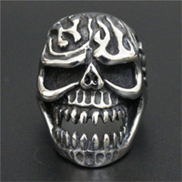 Wholesale Ghost Fire - 3pc lot Size 8-13 New Arrival Ghost Skull Fire Ring 316L Stainless Steel Top Quality Men Boy Fashion Jewelry Skull Ring