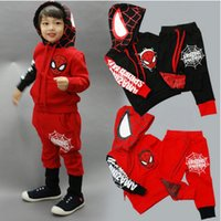 Wholesale Kids Spiderman Sweaters - 50 sets New Boys Spiderman sweater Sports leisure suit kids Fall outfits Children hoodies Sweatshirt+ pants 2 pcs set cotton red blue