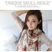 Wholesale Colorful Skull Scarf - 3 Color Skull Head Scarf Colorful poncho Diamonds chiffon shawls and scarves Warmful Pashmina Fall kerchief Winter Cape European Fashion