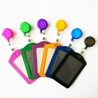 Wholesale Credit Card Holder Lanyard - 2016 New Retractable Reel Bank Credit Card Holders Men PU Leather Card Bus ID holders candy colors Identity badge with lanyard