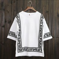 Wholesale Baseball Rock - KTZ Half Sleeve Baseball Hip Hop T-shirt Religion Geometric Bandana Shirt Vintage Rock Tee Shirts Loose Plus Size Streetwear XXL
