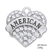 Wholesale Zinc Alloy Heart Charms - Fashion Wholesale Zinc Alloy Material Rhodium Plated Text AMERICAN Mixcolor Rhinestone Pendant Charms For Jewelry Accessroy
