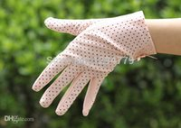 Wholesale Ladies Driving Gloves Uv Protections - Wholesale-Summer sunscreen car driving UV sun protection dot print short Gloves women Golves Lady Protect Sunburnt gloves