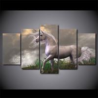 pinturas a óleo de cavalo branco venda por atacado-5 Pçs / set Emoldurado HD Impresso Abstrato Pôr Do Sol Cavalos Brancos Design de Parede Cópia Da Lona Cartaz Arte Moderna Pinturas A Óleo Fotos