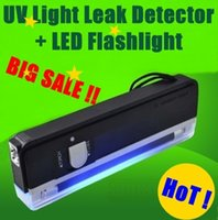 Wholesale Led For Test - QUALITY GOODS Handheld UV Leak Detector For bank note   UV lamp test currency + White LED flashlight