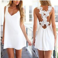 Wholesale Sexy Mini Dresses China - Newest summer UK size Womens Sexy Mini Playsuit White Jumpsuit Summer Shorts Beach Sun Dress Shipping From China