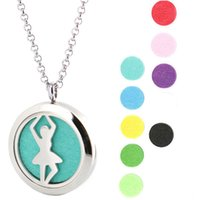 Wholesale ballet oil - Silver Ballet Stainless Steel Pendants Necklace Aroma 30mm Locket Essential Diffuser Oils Lockets Free 50pcs Felt Pads As Gift
