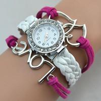çift sonsuzluk sargısı bileziği toptan satış-Klasik Infinity Saatler Örgü Bilezik Lady Wrap Saatler Aşk Çift Kalp Deri Bilek Saatler Mix Stil
