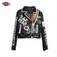 Wholesale Leather Jacket Women Punk Rock - Wholesale- 7mang 2017 Women Punk Party Street Letter Printing Leather Jacket Black Rivet Beading Long Sleeve Motorcycle Leopard Rock Coat