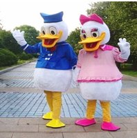 Wholesale Donald Duck Mascot Costumes - 2015 Real Pictures Deluxe Donald Duck and Daisy Duck Mascot costume adult size mascots costumes halloween party supply Ems free shipping
