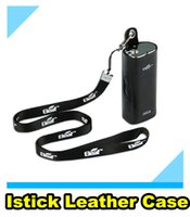 Wholesale Ego Leather Case Lanyard - Authentic Ismoka istick leather case carry vape cases e cig pouch large with ego lanyard ring leather case for istick 20w 30w battery mod