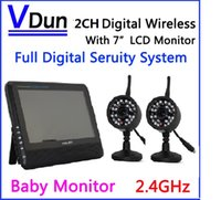 "Wholesale Tft 2ch - 2.4G 2CH QUAD DVR Security CCTV Camera System Digital Wireless Kit Baby Monitor 7"" TFT LCD Monitor+ 2 Cameras ,VD-890-2C"