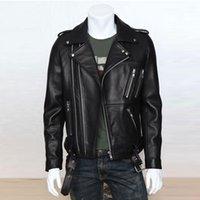Wholesale Leather Jacket For Large Men - Fall-2015 Men's Leather Jacket Coat For Men Large Leather Zipper Pockets Jackets Men European Ana Us Style Brand Coat Jacket S501