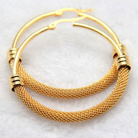Wholesale Surgical Steel Earrings Hoops - Never Fade Fine Style Gift For Women Gold&Silver Surgical Stainless steel Twist wire Round Hoop Dangle Earrings Brand New