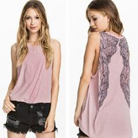 Wholesale Ladies Long Tops Designs - 2015 New fashion casual women angel wing print design sleeveless t shirt women summer style t shirt tops tees feminine blouse for lady tops