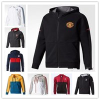 Wholesale Man United Top - 17 18 AC Milan Man United LUKAKU POGBA DYBALA HIGUAIN MARCHISIO 2017 2018 Real Madrid Soccer Jacket Football Tops Coat Zipper Hooded jacket