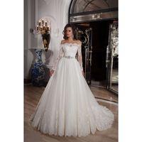 robe de russie achat en gros de-Robe De Noiva Élégant À Manches Longues Jardin Russie Modest Mariage Robes De Mariée En Dentelle Hors Épaule Élégant Robes De Mariée