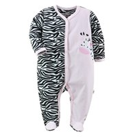 Wholesale Baby Footed Rompers Fleece - Pink Zebra Baby Rompers Fleece Warmer Babe Romper with Feet Girls Jumpsuits Creeper Overalls