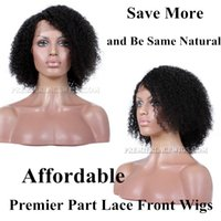 Wholesale Affordable Kinky Curly Hair - Premierlacewigs Affordable Kinky Curly Side or Middle Part Nautral Black Virgin Brazilian Remy indian Human Hair Lace Wigs For Black Women