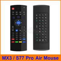 mx uzaktan kumanda toptan satış-S77 pro 2.4 Ghz Kablosuz MX3 Mini QWERTY Klavye Mic ile Ses IR Öğrenme Modu PC için Fly Air Fare Uzaktan Kumanda MX Android TV Kutusu IPTV