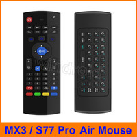 iptv box оптовых-S77 про 2.4Ghz Wireless MX3 мини QWERTY клавиатура с микрофоном Голос ИК-Learning Mode Fly Air Mouse Remote Control MX для PC Android TV Box IPTV
