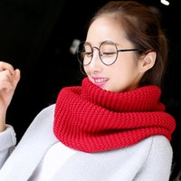 Wholesale Cable Knit Scarfs - 10Pcs Lot Women Winter Warm Infinity 2 Circle Cable Knitted Cowl Neck Long Scarf Shawl Infinity Scarf