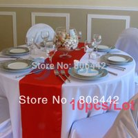 Wholesale 10Pcs Satin Table Runner quot x quot Wedding Party Decoration Red