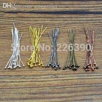 Wholesale Bronze Ball Head Pins - Wholesale-200pc lot 20mm Metal Ball Head Pins Needles Bronze Rhodium Gold Silver DIY Jewelry Findings Making Accessories Y731