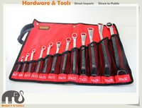 Wholesale Metric Wrench Sets - 12pc Double Offset Ring Spanner Wrench Set Metric 6-32mm in Canvas Roll Pouch Mirror Polished