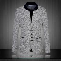 Wholesale Chinese Wool Jacket - Free shipping 2016 New Arrival Chinese Blazers Men Stand Collar High Quality Men's Suit Fashion Suits Slim Fit Jacket Plus Size M- 6XL