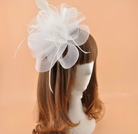 Wholesale Black Feather Hat Band - Free shipping,bridal hats European and American headdress wedding party performances bows feather head flower hair band White