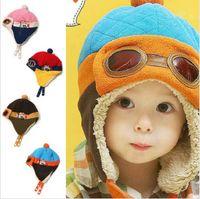 Wholesale Hat Cap Flight - Toddlers Warm Flight Cap Hat Beanie Cool Baby Boy Girl Kids Infant Winter Pilot Aviator Cap