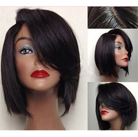 Wholesale Hand Cut Swiss Lace - Hot selling short cut hair wigs 6A grade unprocessed virgin front lace wigs full lace human wigs 130%density with natural hairline