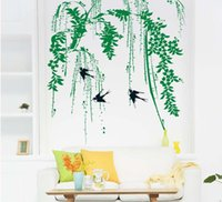 Avalez Graphic Poster Chinese Wall Willow mur Art Mural Autocollant Décor Salon Printemps, Paysage, Stickers muraux Applique traditionnelle